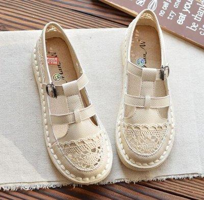 懶人鞋 蕾絲镂空羅馬涼鞋 學生百搭平底鞋 小白鞋—莎芭