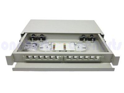 現貨 加厚19英吋抽屜式光纖終端盒通盒 12口 12路 支援 SC LC ST FC耦合器 機櫃式 光纖工作站 TV