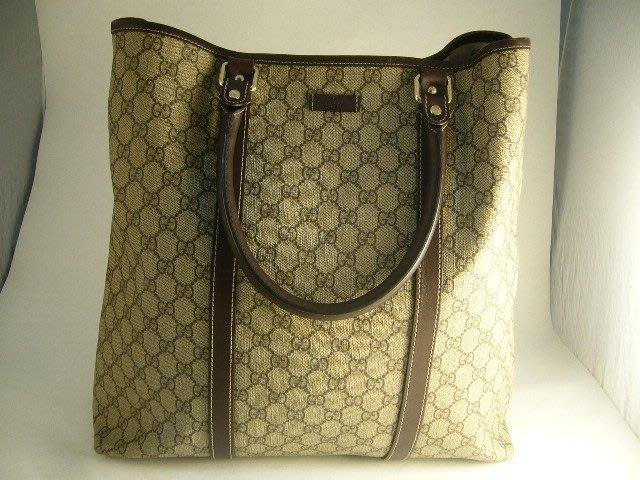 [吉宏精品交流中心]GUCCI 223668 PVC 咖啡色 直式 托特包 手提包 肩背包(2)