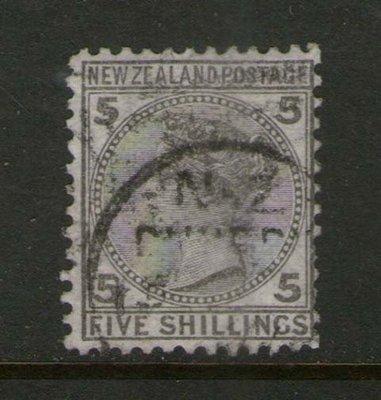 【雲品】紐西蘭New Zealand 1878 QV 5/- SG 186 or SC 60 FU- scarce 庫號#66531
