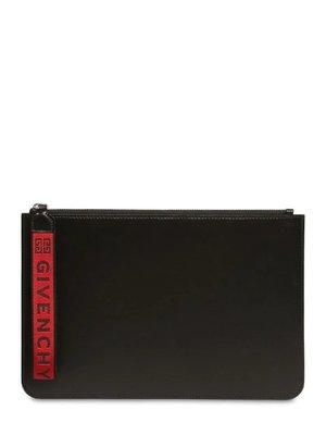 GIVENCHY  Logo  手拿皮革小包 手拿包 黑+紅色 萊克精品代購 190807029 台北市