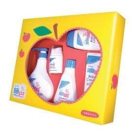 Sebamed PH5.5 施巴 嬰兒蘋果大五件禮盒/嬰兒泡泡浴露.嬰幼兒洗髮乳.潤膚乳液.護膚膏.面霜+禮盒贈紙袋