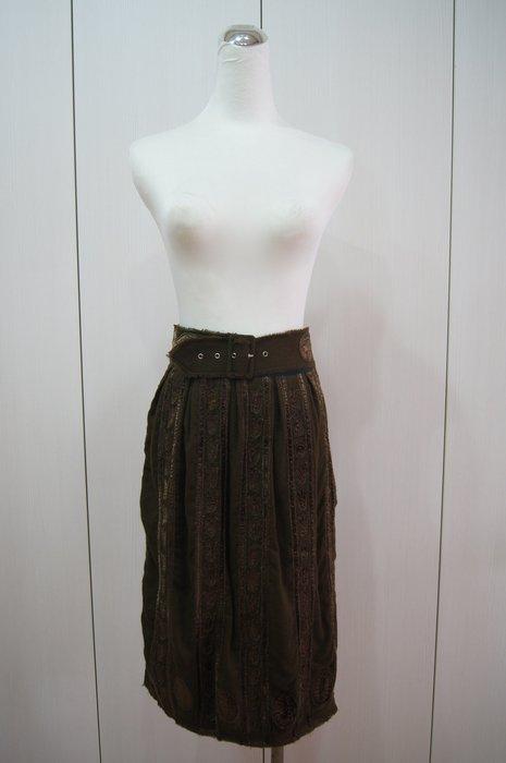 Easton Pearson  咖色腰帶刺繡裙    原價  35200     特價  5000