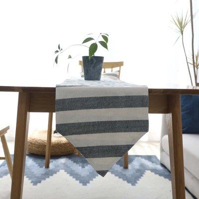 【可可里】北歐簡約風棉質條紋桌旗餐桌旗裝飾巾餐墊餐桌旗茶幾旗蓋巾