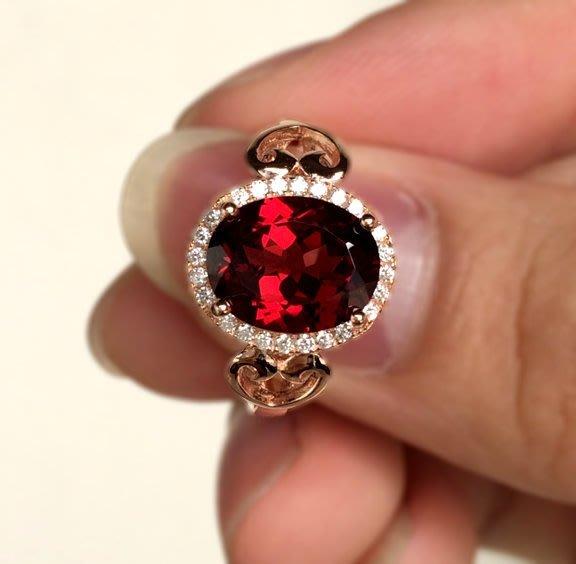 ((瑪奇亞朵的珠寶世界))超美豪華超大顆 天然A級紅榴石鑲崁 戒子 送禮好用大器 精緻