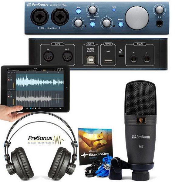 造韻樂器音響- JU-MUSIC - PreSonus AudionBox iTwo 麥克風 耳機 套裝 錄音介面 宅錄