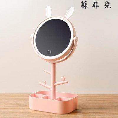 LED化妝鏡帶燈收納盒臺式儲物梳妝鏡