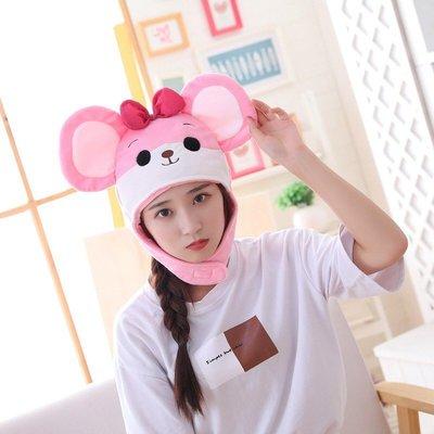 乂世界派對乂動物帽/鼠年帽子/老鼠帽/粉色老鼠帽子/蝴蝶結粉色老鼠帽