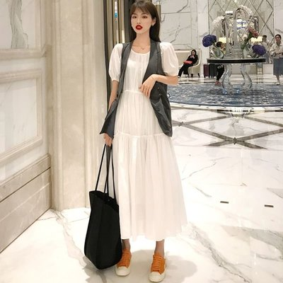 時尚女裙  夏季新款復古港風百搭圓領短袖裙子寬松兩件套純色連衣裙女裝