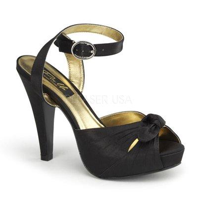 Shoes InStyle《四吋》美國品牌 PIN UP CONTURE 原廠正品緞面厚底高跟鞋 有大尺碼『黑色』