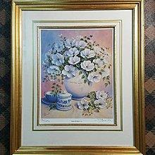 【藏家釋出】 早期收藏 ◎《英國原裝進口限量版畫 - 花卉靜物》有畫家親自簽名,後面貼有認證的保證單....