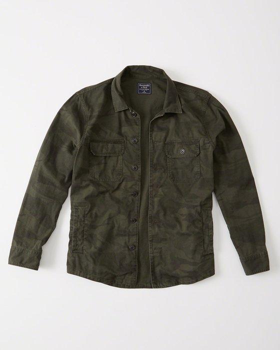 Maple麋鹿小舖 Abercrombie&Fitch * AF 軍綠色迷彩軍裝風襯衫外套 * ( 現貨XXL號 )