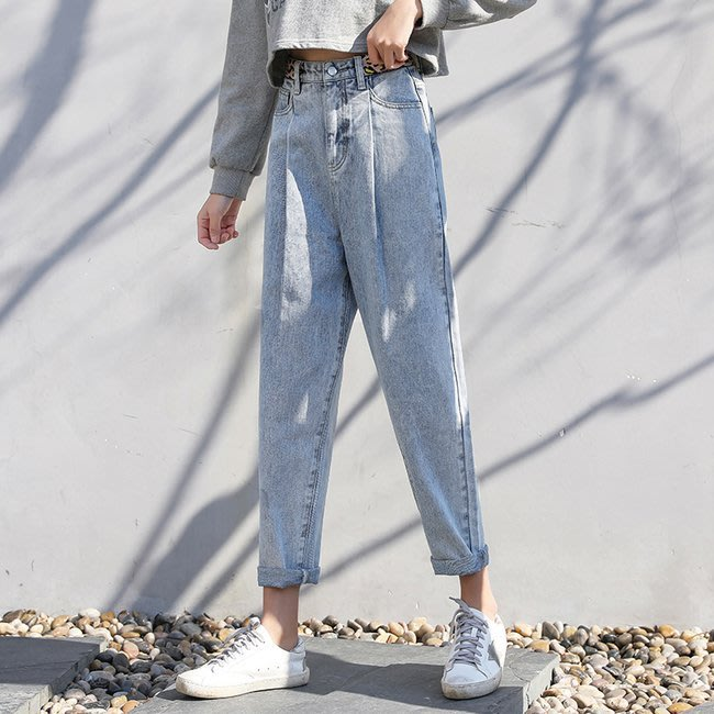 FINDSENSE 正韓女裝 夏季 高腰直筒褲 窄管 小直筒 寬鬆牛仔褲 G6 顯瘦哈倫褲 女性 中高腰九分褲 女褲