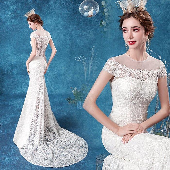 妞妞 婚紗禮服~法式蕾絲新娘婚紗長禮服~3件免郵