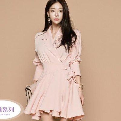 現貨 粉色 M收腰洋裝 32597/簡約粉色西裝領收腰綁帶蝴蝶結五分袖連衣裙  胖胖美依