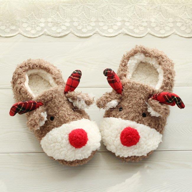 【FAT CAT HOUSE胖貓屋】聖誕麋鹿厚底棉拖鞋 包跟防滑絨毛拖鞋 保暖居家拖鞋 室內拖鞋 情侶親子鞋 聖誕禮物