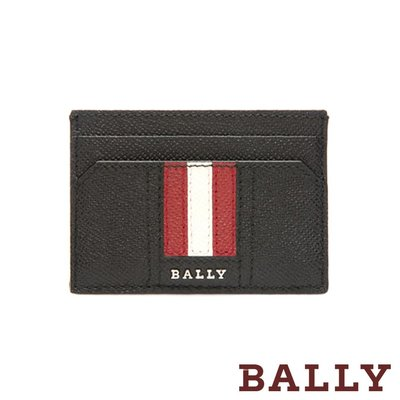 【台中米蘭站】全新品 BALLY THAR 防刮牛皮紅白條紋雙面名片夾 (6218031-黑)