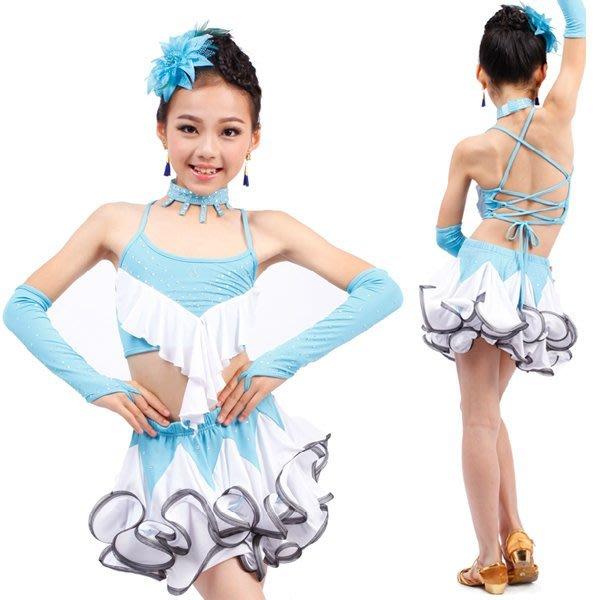 5Cgo【鴿樓】會員有優惠 44889350294 兒童拉丁舞裙 少兒拉丁舞裙鑲鑽比賽拉丁舞演出服女童 兒童舞衣
