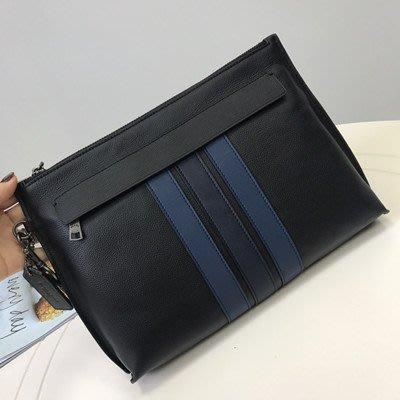 恬恬精品 COACH 31514 新款男士條紋拼接全皮手拿包 手腕包 容量超大 時尚大氣