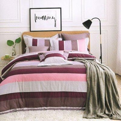 標準雙人床罩組五尺六件式純精梳棉-簡約風尚-台灣製 Homian 賀眠寢飾