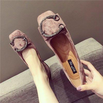 【Trend Sh】鞋子女新款方頭平底鞋金屬扣舒適百搭淺口單鞋正韓休閑豆豆鞋女鞋