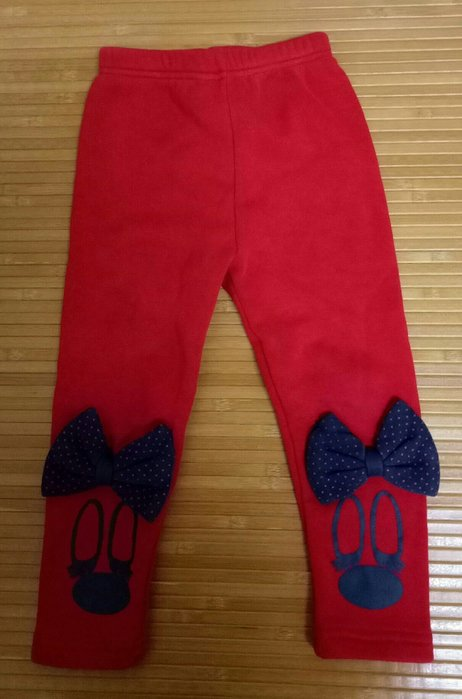 米妮~紅色女童刷毛長褲