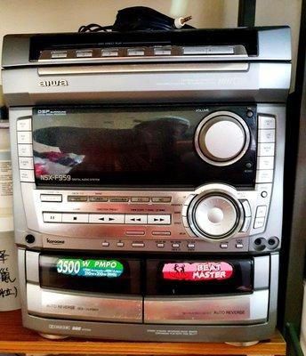 😊25年歷史😄aiwa NSX-F959 👉5片裝CD&MD旋轉圓盤👍😄雙卡槽同步錄音錄音帶機