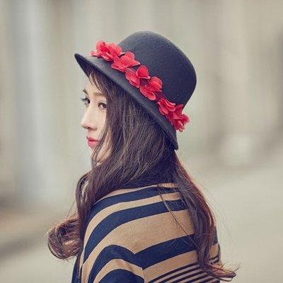 小禮帽毛呢帽-黑色紅花裝飾圓頂女帽子73vt29[獨家進口][米蘭精品]