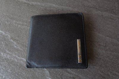 Cartier 真品 經典螺絲 (男.女用) 黑色優質荔枝皮短夾.