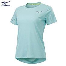 憲憲之家MIZUNO 美津濃J2TA120231 女路跑短袖T恤-淺藍綠