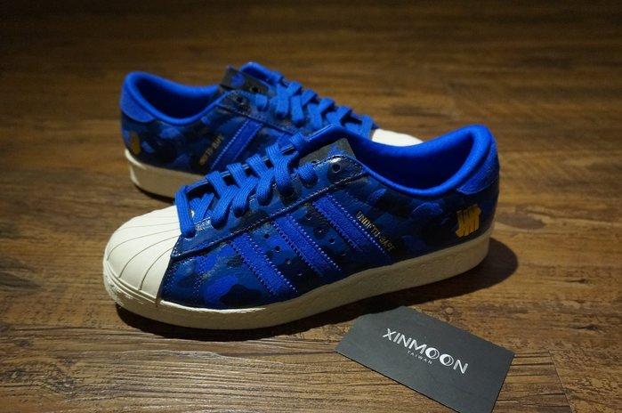 XinmOOn* adidas Superstar 80v x ape Undefeated S74775 藍色 金