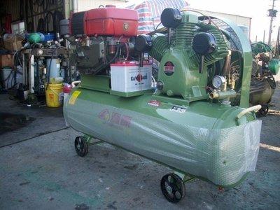 引擎式空壓機5HP高壓0.....18kg空壓機附12HP柴油電動引擎.電瓶充電器護網腳架最高級