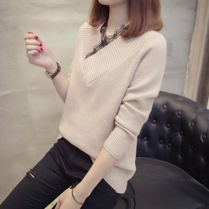 秋冬低領毛衣女套頭修身韓版短款V領長袖打底針織衫線衣