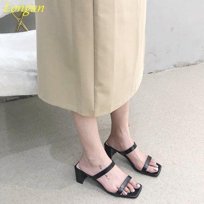 【Longan】2019粗跟高跟涼鞋女夏季一字簡約百搭韓版高跟涼鞋女羅馬涼拖鞋女