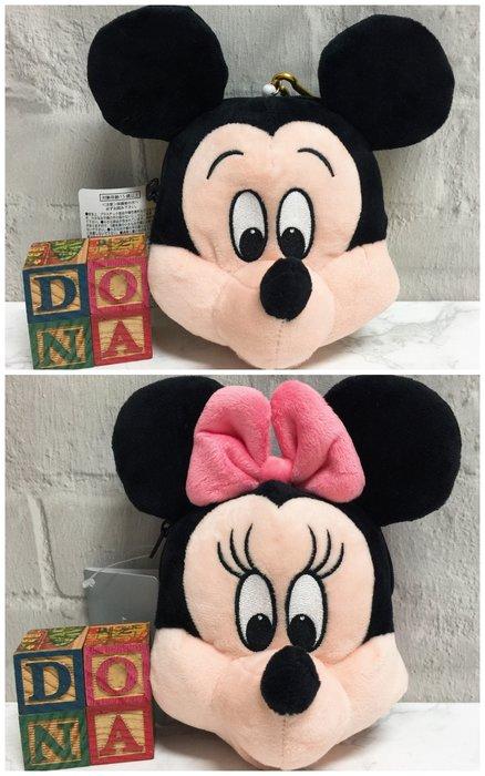 【Dona日貨】日本迪士尼store限定 米老鼠米奇 米妮 大頭造型 伸縮零錢包(附登山扣)  B34