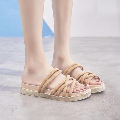 (免運)平底涼鞋 兩穿網紅羅馬鞋女學生...