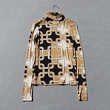 005 豹紋純綿長䄂高領上衣