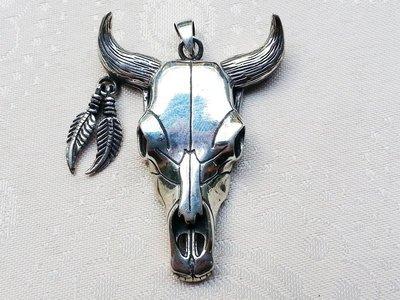 嗨,寶貝手創飾品工作室* 925純銀飾 寶石飾品☆超級有型的牛頭造形純銀墜子 吊墜☆收藏