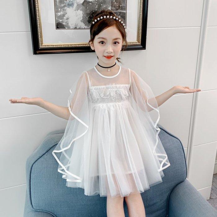 •*~ 辣媽咪衣飾小舖 ~*•❤童裝系列❤K660418韓版大童夏款甜美浪漫飄逸飛袖仙女網紗公主洋裝