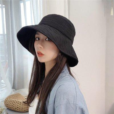 漁夫帽 盆帽-條紋褶皺純色時尚女帽子2色73xu20[獨家進口][米蘭精品]