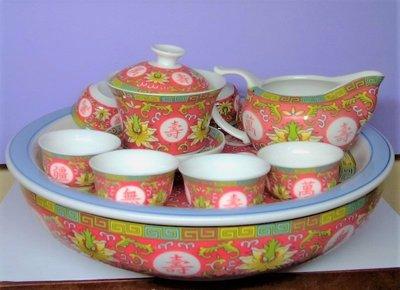 @居士林@萬壽無疆-紅花瓷器茶具組(泡茶杯+茶杯8只+茶盤)整組共11件