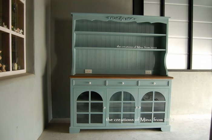 米娜天然直感手作-餐櫃˙鄉村餐廚系列34 復古藍拱門型餐櫃
