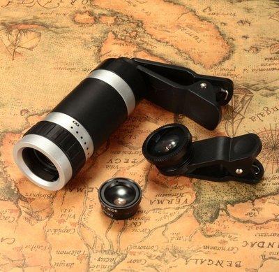 【蘑菇小隊】廣角鏡頭通用夾8倍手機望遠鏡 四代長焦8X攝像頭8倍魚眼 廣角/微距四合一-MG77108