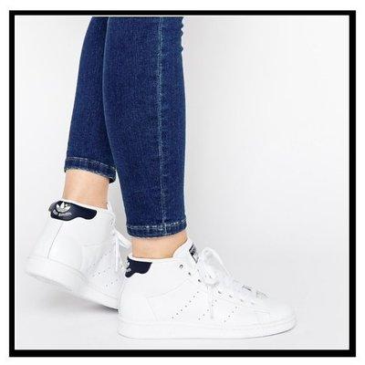 現貨 adidas Originals STAN SMITH MID 真皮 高筒 S75026 白黑 黑尾 23.5cm