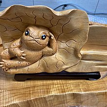 台灣黃檜 蟾蜍木雕 名片架 可愛版蟾蜍