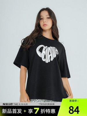 子上CBIANA/21SS 原創設計短袖T恤愛心logo印花嘻哈國潮半截袖男女tee