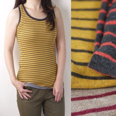 韓國連線 配色橫條紋 挖背 長版 彈性棉背心 ~桔子瑪琪朵