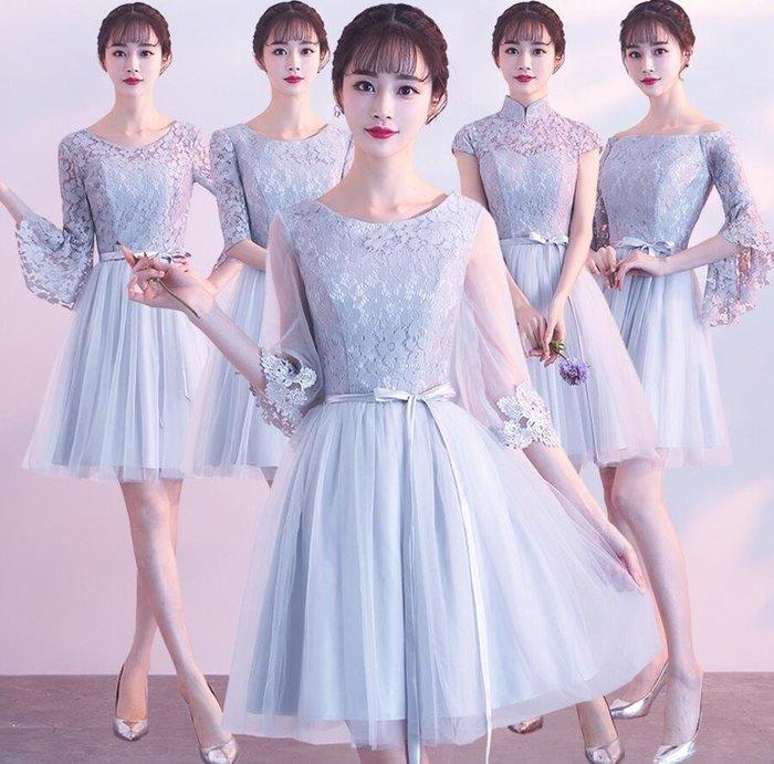 禮服 新款修身顯瘦韓版伴娘服姐妹裙短款學生畢業小禮服—莎芭
