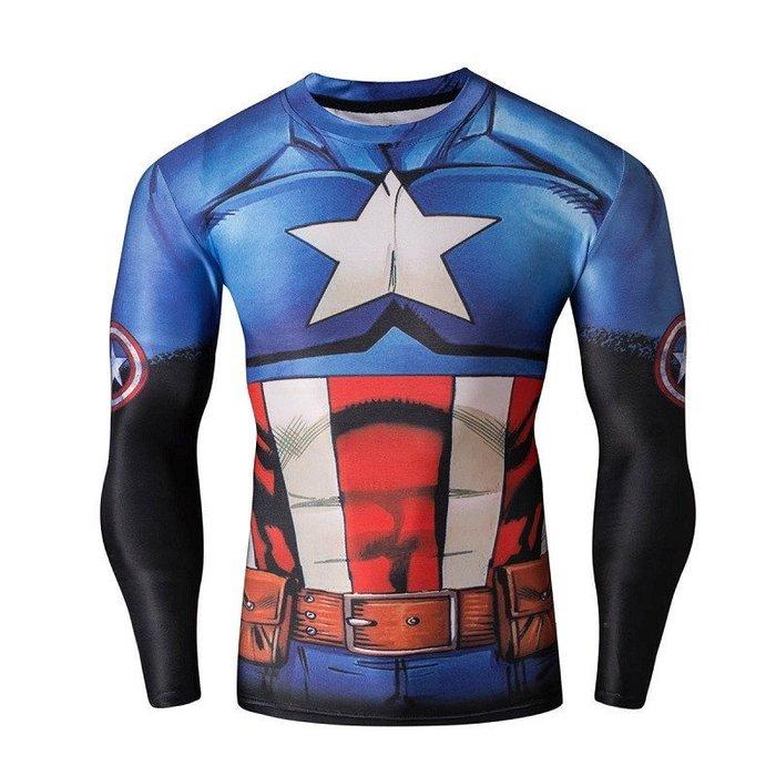 任二件免運 美國隊長 漫威  長袖T桖 排汗衫 寬鬆 S~4XL 大尺寸 L25