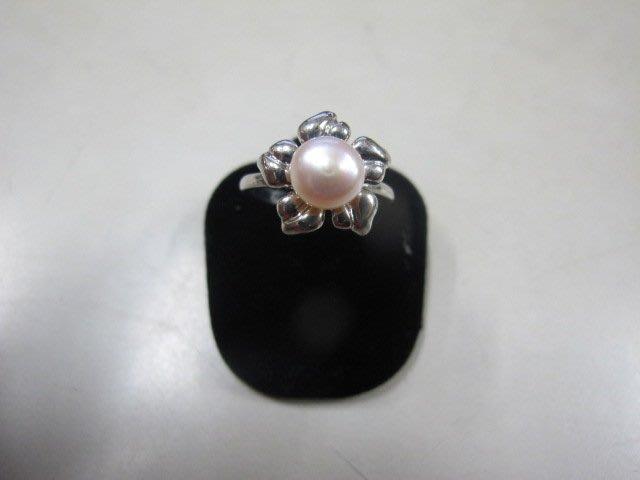 二手舖 NO.3984 天然珍珠 造型戒指 首飾飾品 全新